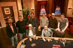 seated: Doyle Brunson, Barry Greenstein, standing: Daniel Negreanu, Eli Elezra, David Benyamine, Peter Eastgate, Ilari Sahamies, Tom Dwan